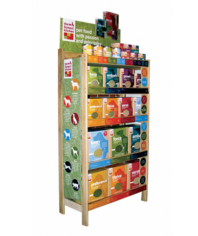 POINT OF PURCHASE WOOD SHELF DISPLAY PET FOODS