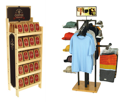 Stock Point of Purchase Displays 4-WAY & Pine Shelf Display