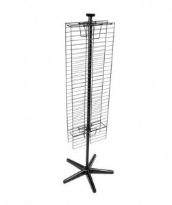 2-sided spinning floor display. Screens accommodate hooks, bas- kets, shelves, and other accessories. Includes plastic base and sign holder. Designed for easy assembly. No hardware required. Available in black or silver.