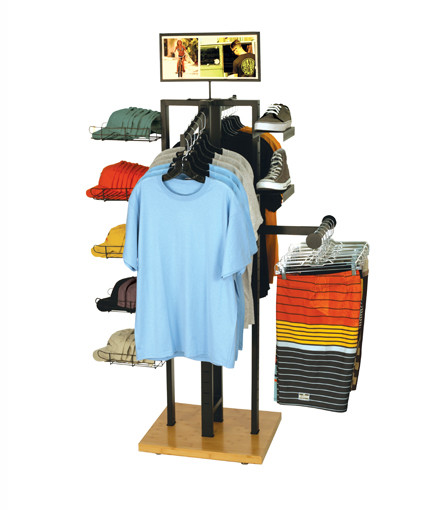 4-Way apparel display with shoe, hat, and shirt accessories