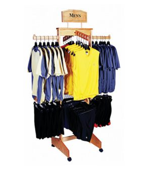 4-Sided 2-Tier Solid Retail Wood Apparel Display By Rich LTD.