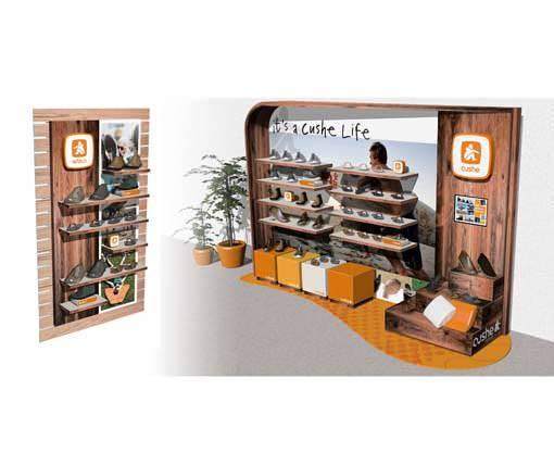 Cushe store in store environmental retail display