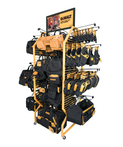 Dewalt tool belt and glove display fixture for home depot