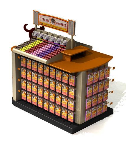 Petco cat food retail display gondola