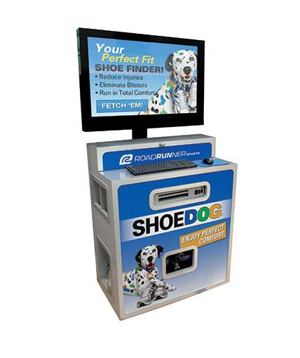 shoe dog retail video display pop fixture
