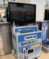 Shoe dog tv kiosk