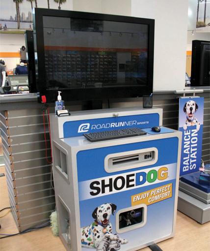 Shoe dog tv kiosk
