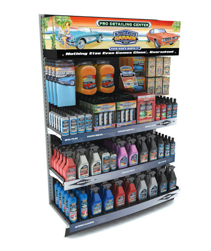 inline gondola display surf city garage car care products