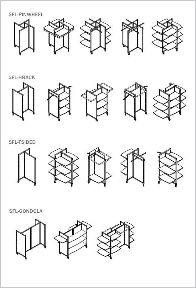 Store fixture line configurations.