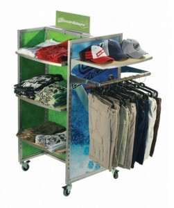 Apparel pop retail display with custom graphics