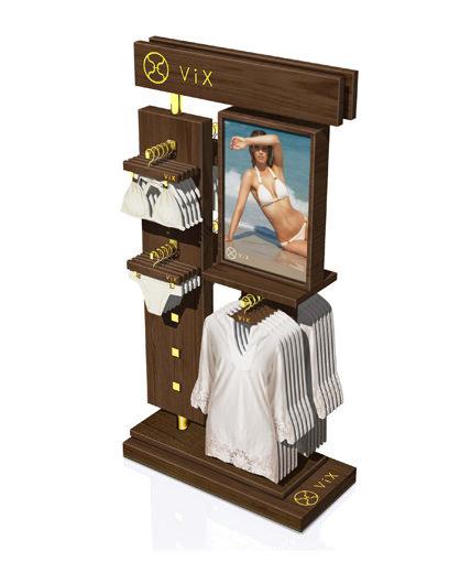 Wood swimsuit display retail rack