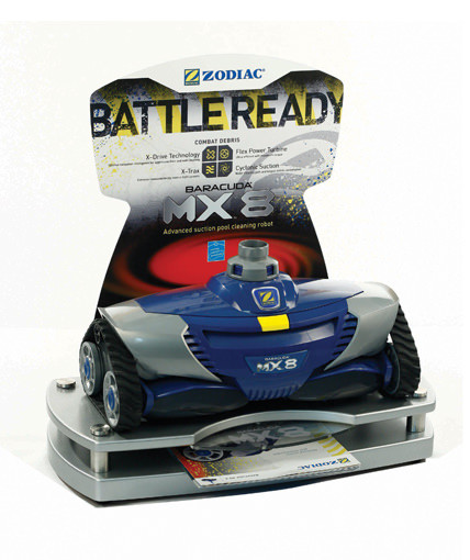Counter display glorifier for Zodiac's MX-8 pool cleaning robot, features powder-coated MDF base and podium with CNC-Cut dimensional letters, branded acrylic disk, brochure holder, and digitally printed, die-cut header.