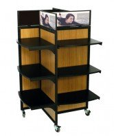 SFL-PINWHEEL retail display black frame with bamboo panels, black shelves