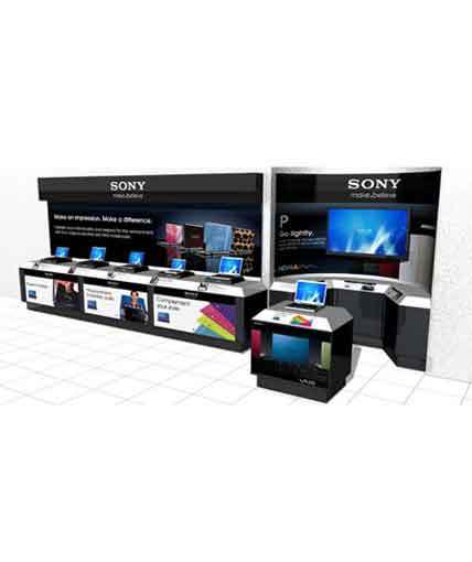 sony wall Point Of Purchase Custom Retail display