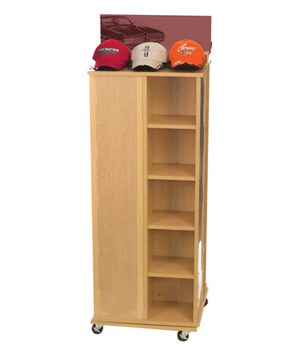Shoe cubbie with hat accessories retail display