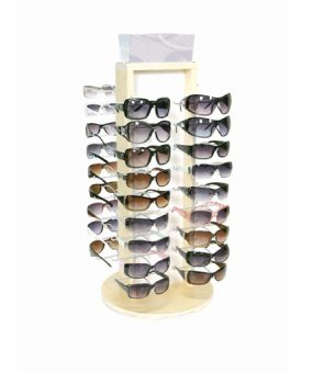 2 Sided wood spinning sunglass display for retail - Tabletop display