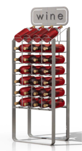 This silver brushed wire display can hold 28 bottles of wine.