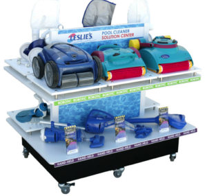 This is a 2-tier Zodiac pool cleaner solutions center to go into Leslie's Pool Supply stores.